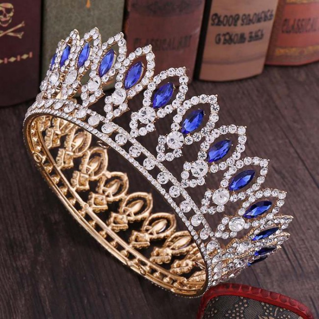 Fashion Full Round Baroque Crystal Royal Princess Queen Diadem Tiaras Crowns for Bridal Bride Wedding Party
