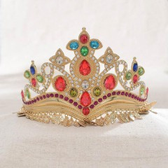 Vintage Colorful Luxury Crystal Princess Diadem Tiara Crowns Noiva Bride Wedding Party Hair Jewelry Accessories
