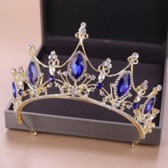 Royal Queen Baroque Style Blue Crystal Tiaras Crown Princess Diadem Bridal Bride Wedding Party Hair Jewelry Ornaments