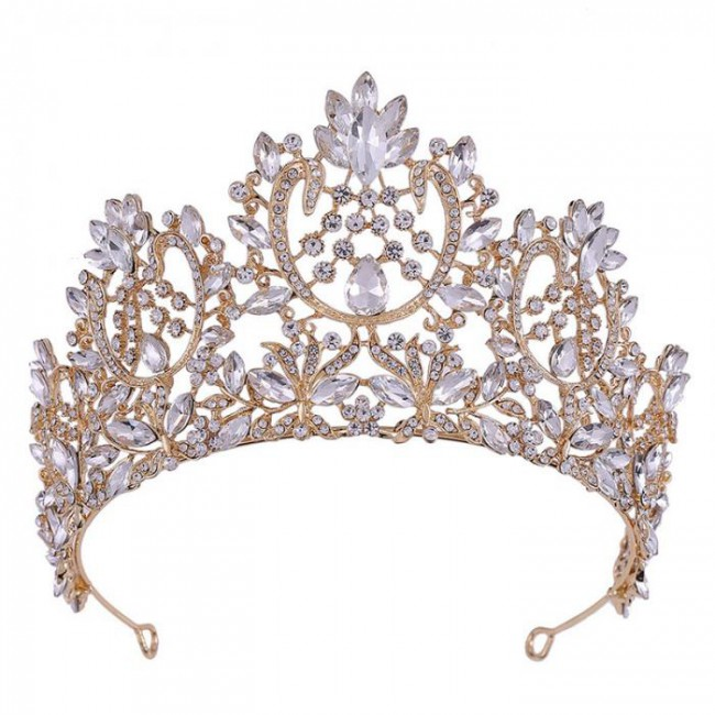 Fashion Vintage Baroque Rose Gold Blue Crystal Tiaras Crowns Diadem Bride Noiva Wedding Party Hair Jewelry Accessories