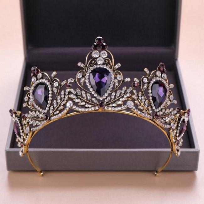 High Quality Baroque Style Purple Color Crystal Tiaras Crowns de Noiva Diadem Bride Wedding Hair Jewelry Headpieces for Women