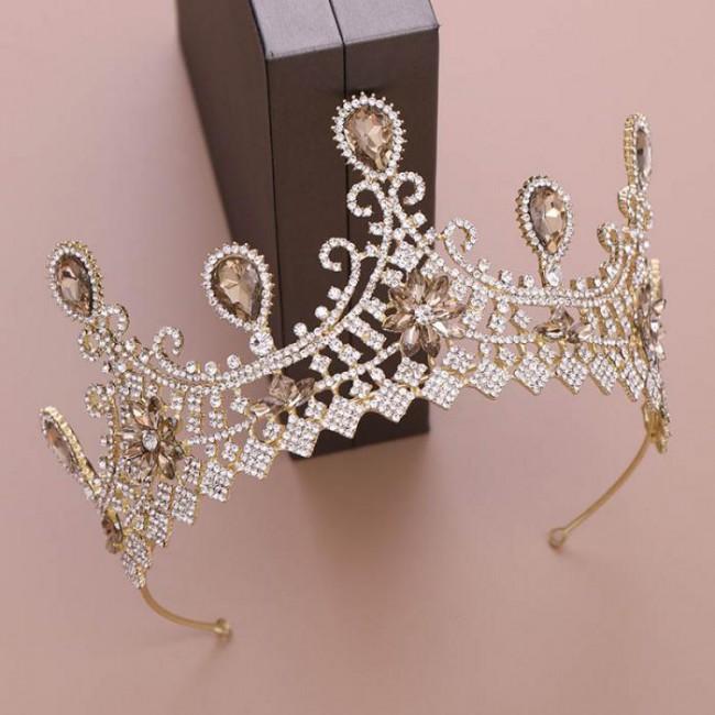 Gold/Silver Color Crystal Royal Princess Diadem Tiaras Crowns de Noiva Wedding Party Hair Jewelry for Women Girl Bride