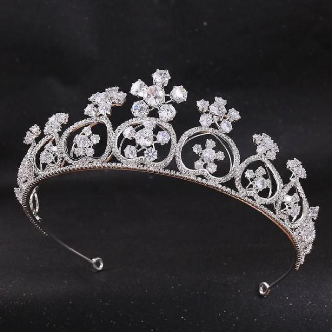 Fashion Silver Crystal Princess Diadem Tiaras Crowns Bride Noiva Wedding Party Women Girl Birthday Hair Jewelry