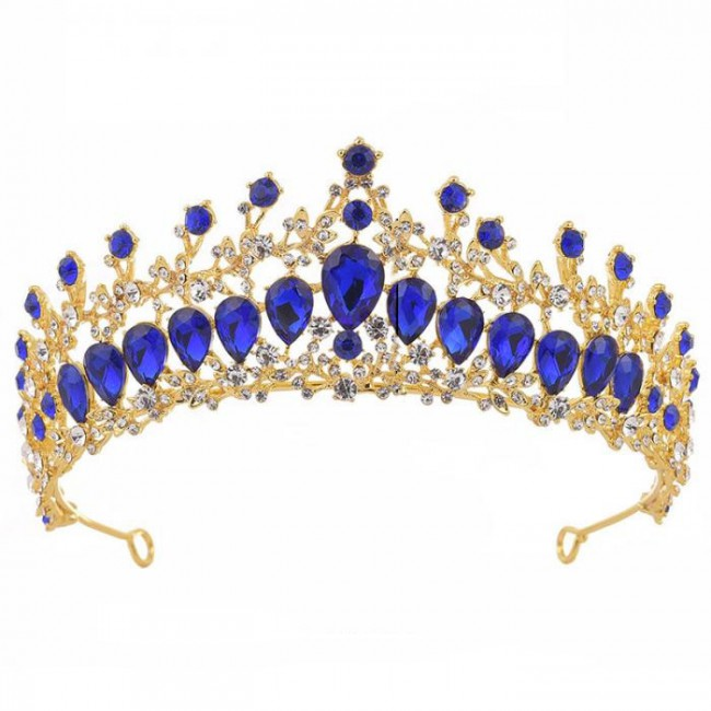 Luxury Gold Red Blue Green Crystal Tiaras Crowns Princess Pageant Noiva Bride Bridal Wedding diadema Hair Jewelry