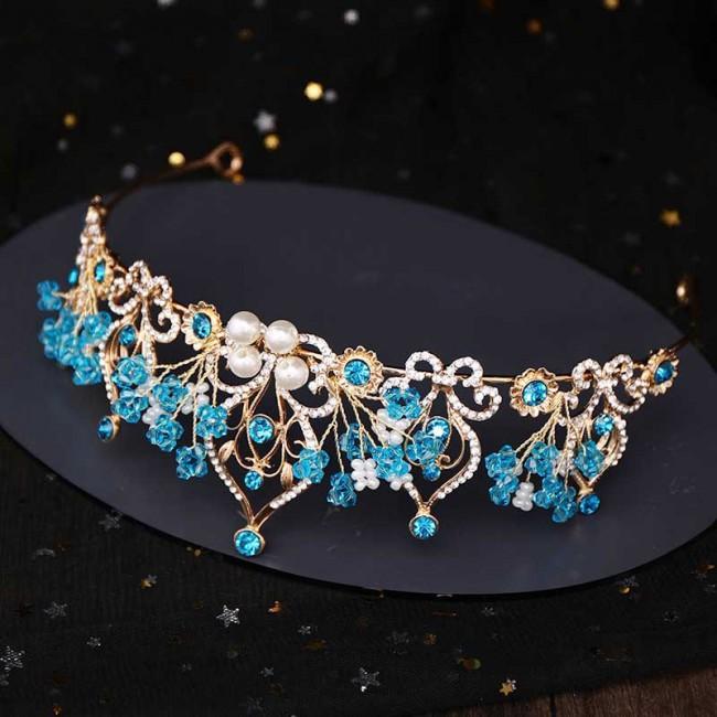 Bridal Wedding Hair Jewelry Accessories Handmade Blue Flower Crystal Pearls Tiaras Crowns de Noiva Bride Princess Diadem