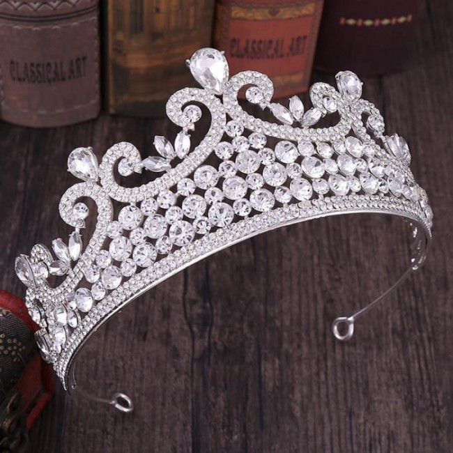Fashion Rose Gold Red Blue Shining Crystal Headbands Tiaras Crown Princess Bride Noiva Wedding Party Hair Accessories