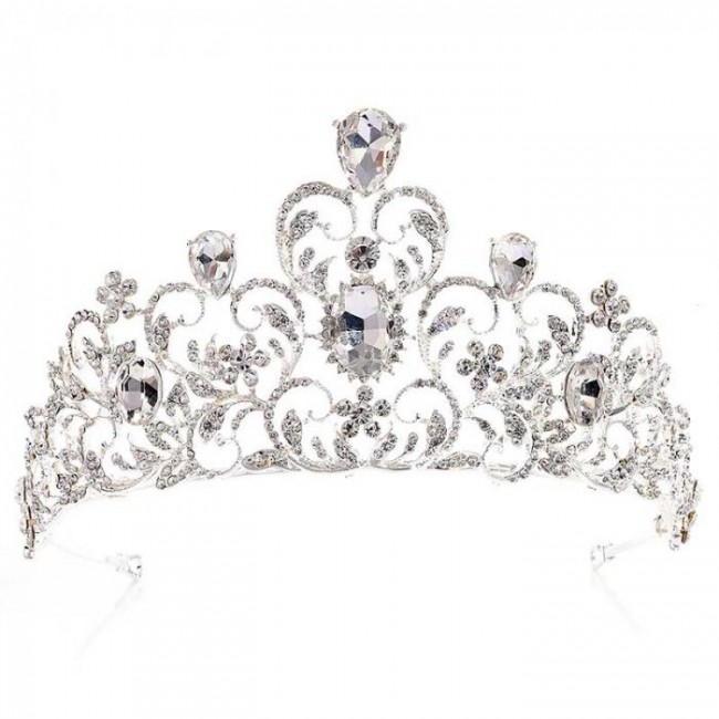 High Quality Baroque Flower Hollow Crystal Tiaras Crowns Noiva Bride Bridal Wedding Hair Diadem