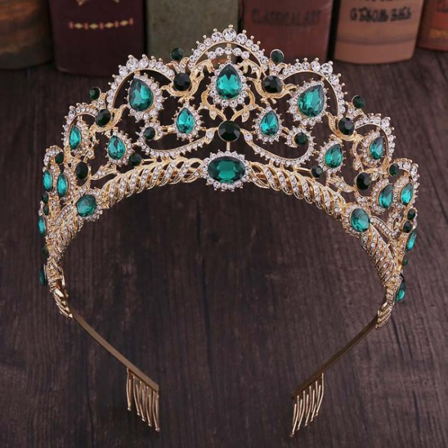 Retro Baroque Style Crystal Royal Princess Pageant Tiaras Crowns Hair Combs Bride Wedding Diadem