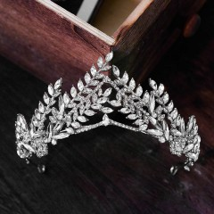 Silver Crystal Tiara Baroque Diadem Rhinestone Bridal Tiaras Crowns Headbands Women Bride Wedding Hair Accessories