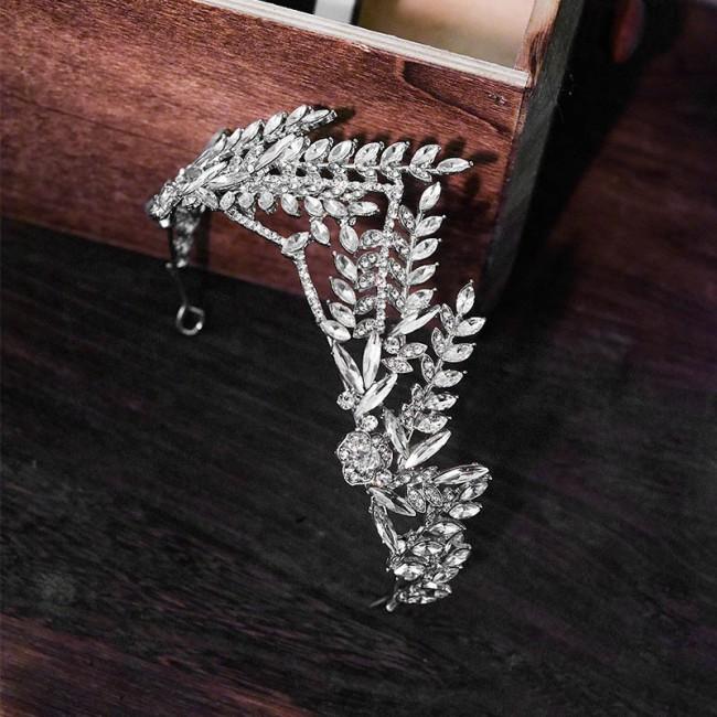 Silver Crystal Tiara Baroque Diadem Rhinestone Bridal Tiaras Crowns Headbands Women Bride Wedding Hair Accessories