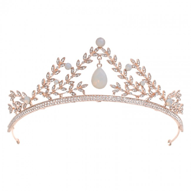 Fashion Shining Rhinestone Leaf Pendant Tiaras Crowns Royal Princess Women Girls Bride Noiva Wedding Dress Hair Jewelry