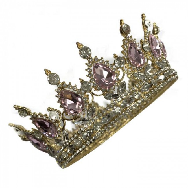 Rhinestone Crystal Round Tiara Crown Bridal Bride Wedding Queen Princess Pageant Prom Headwear Hair Jewelry