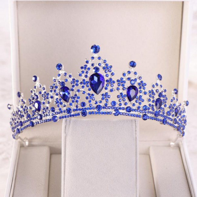 Crystal Round Tiaras Crowns Queen Princess Pageant Bridal Bride Noiva Diadem Wedding Hair Accessories