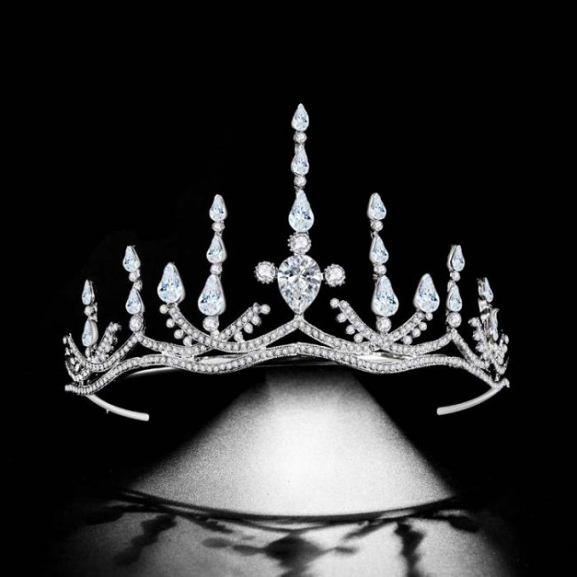 High Quality Baroque Silver Crystal Simple Tiaras Crowns Headbands Bride Bridal Wedding Party Hair Jewelry Accessories