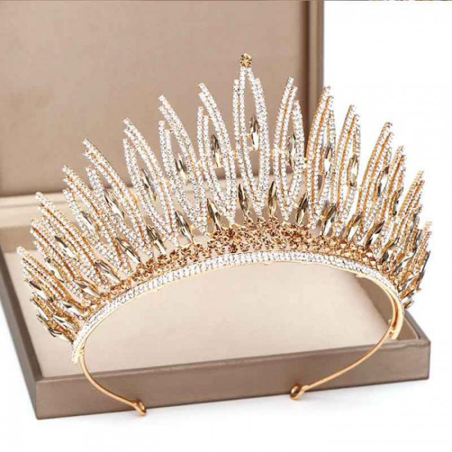Fashion Simple Crystal Tiaras Crowns Queen Princess Bride Bridal Wedding Party Hair Jewelry Ornaments