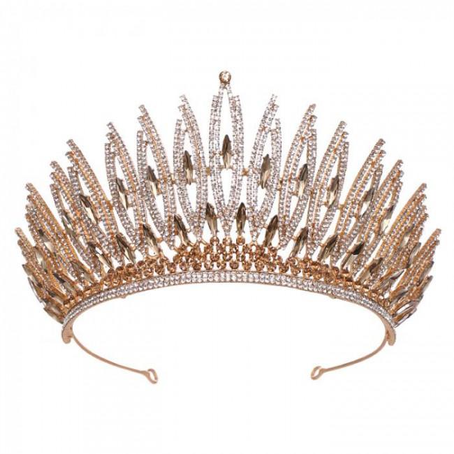 Fashion Simple Crystal Tiaras Crowns Queen Princess Bride Bridal Wedding Party Hair Jewelry Ornaments