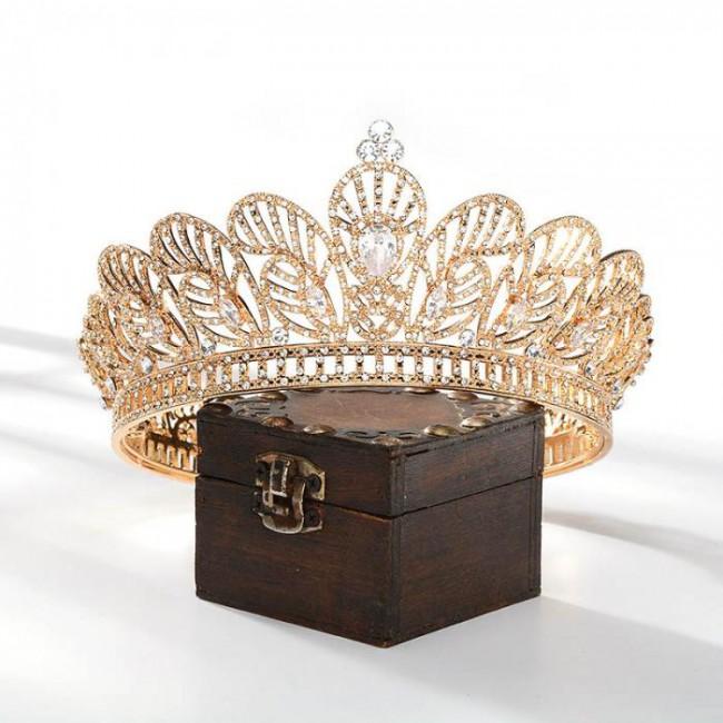 Fashion Retro Baroque Style Shining Crystal Full Round Tiaras Crowns Princess Diadem for Bride Noiva Wedding Party
