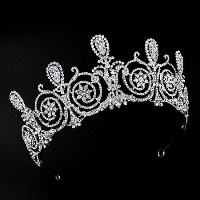 High Fashion Retro Baroque Shining Waterdrop Crystal Tiaras Crowns Bride Noiva Wedding Party Hair Ornaments Jewelry Headpieces