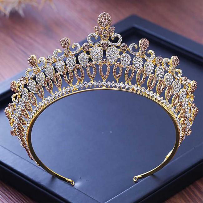 Baroque Gold Crystal Tiaras Crowns Diadem Bride Noiva Bridal Wedding Party Hair Accesorios