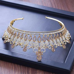 Baroque Gold Crystal Tiaras Crowns Diadem Bride Noiva Bridal Wedding Party Hair Accesorios
