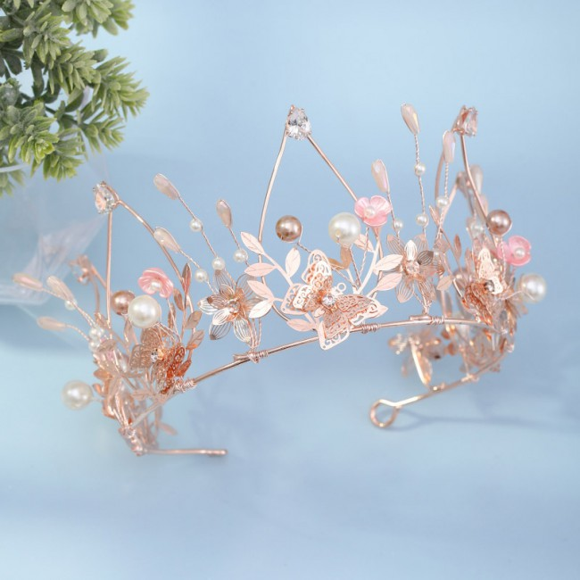 Rose Gold Shining Crystal Pearls Butterfly Flower Leaf Tiaras Crowns Princess Pageant Diadem Bride Noiva Wedding