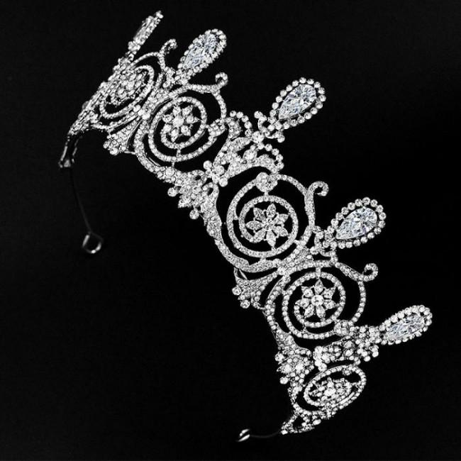Retro Baroque Shining Rhinestone Crystal Tiaras Crowns Bride Noiva Wedding Party Hair Ornaments Jewelry Headpieces