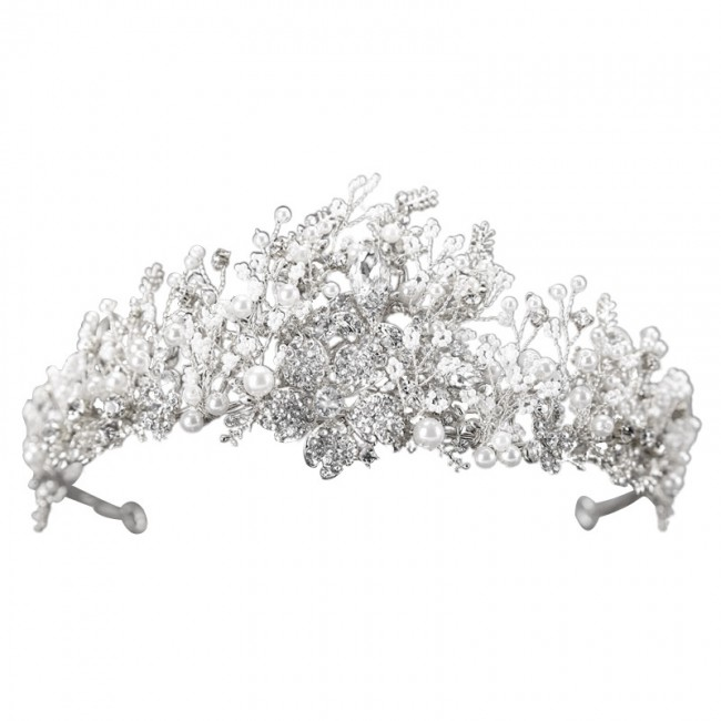 Luxury Rhinestone Pearls Flower Leaf Tiaras Crown Headband Brides Noiva Wedding Hair Jewelry Headpieces