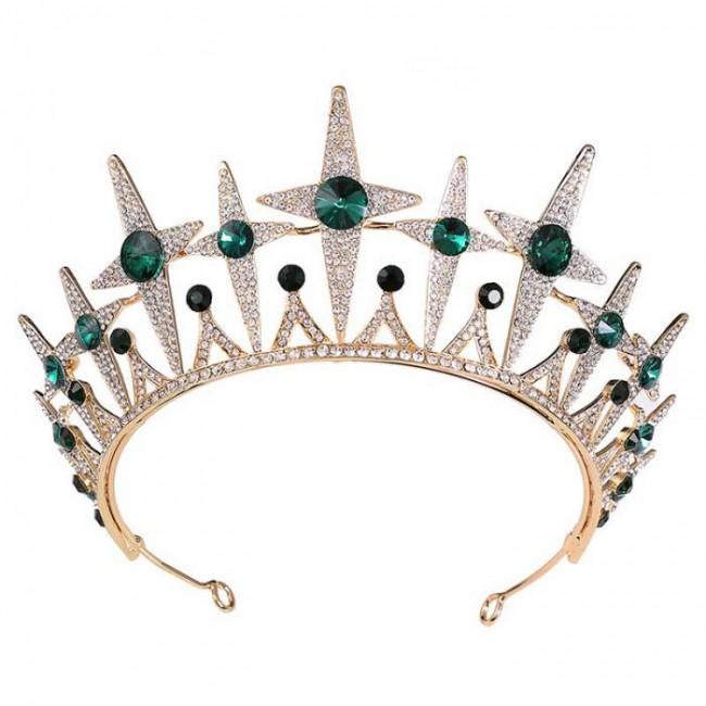 Fashion Delicate Shining Star Crystal Royal Princess Diadem Tiaras Crowns Headbands Women Bride Noiva Wedding Hair Ornament