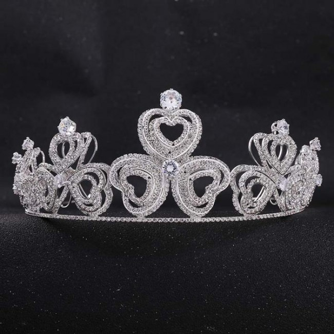 Retro Baroque Style Shining Love Heart Crystal Tiaras Crowns Diadem Bride Bridal Wedding Party Hair Accessories