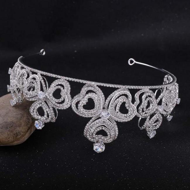 Retro Baroque Style Shining Love Heart Crystal Tiaras Crowns Diadem Bride Bridal Wedding Party Hair Accessories
