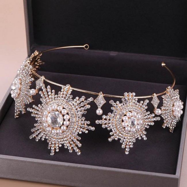 Delicate Crystal Simulated Pearls Tiaras Crowns Hairband Bride Bridal Wedding Engagement Diadem