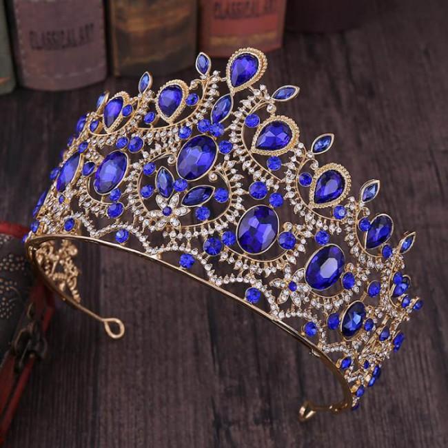 Fashion Delicate Vintage Baroque Style Shining Crystal Big Tiaras Crowns Bride Wedding Party Hair Accessories
