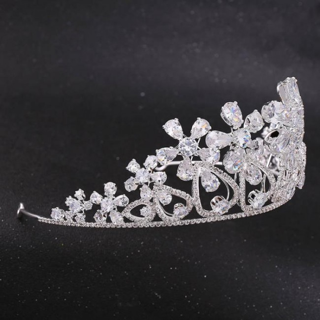 Women Girl Birthday Bride Wedding Party Shining Flower Crystal Tiaras Crowns Headbands