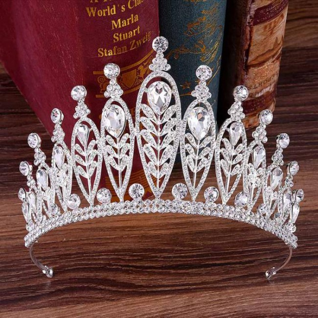 Luxury Baroque Big Crystal Royal Tiaras Crown Diadem Bridal Bride Noiva Wedding Party Hair Ornaments