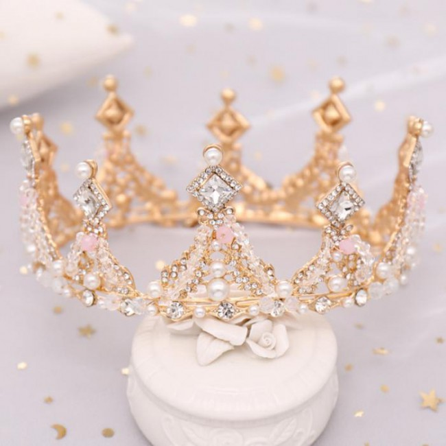 Crystal Simulated Pearls Bridal Bride Noiva Wedding Party Tiaras Crowns Royal Princess Diadem