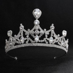 Shining Water Drop Crystal Tiaras Crowns Headbands Women Girl Birthday Bride Noiva Wedding Party Hair Accessories