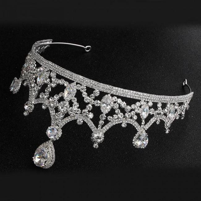 Shining Water Drop Crystal Tiaras Crowns Headbands Women Girl Birthday Bride Noiva Wedding Party Hair Accessories