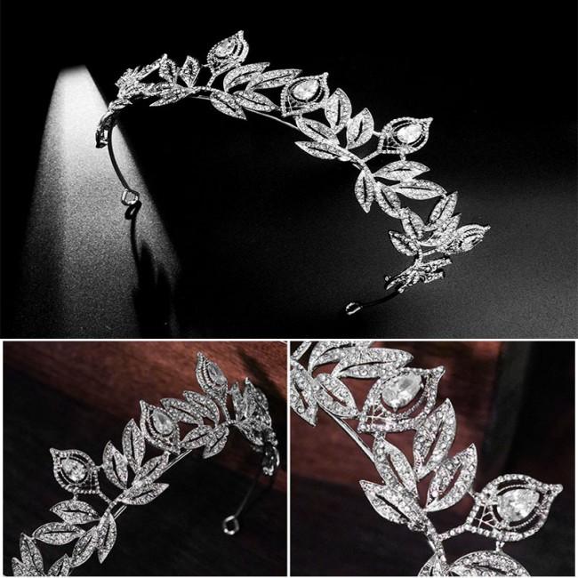 Wedding Crown Bridal Tiara Hair Jewelry Glitter Flower Rhinestone Crystal Tiaras Crowns Bride Wedding Hair Accessories