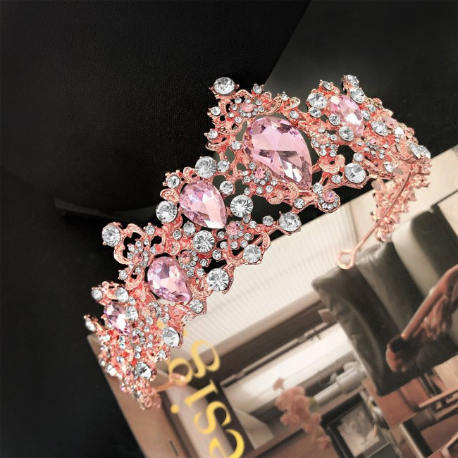 Tiaras Wedding Crown Bridal Hair Accessories Luxury Baroque Crystal Pink Queen Crown Women Adult Gift Party Hair Jewelry