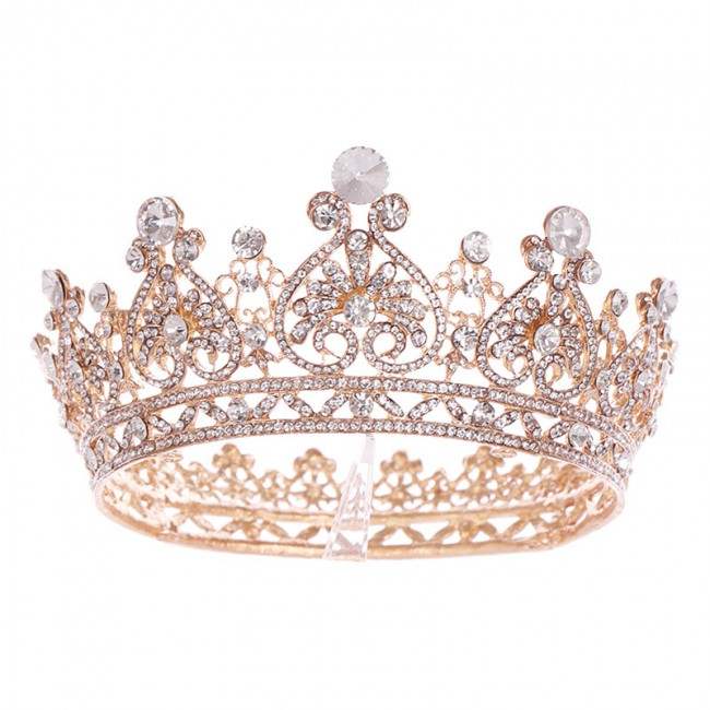 Baroque Round Crowns Bridal Wedding Hair Accessories Crystal Rhinestones Big Hair Jewelry Pageant Heart King Queen Tiaras