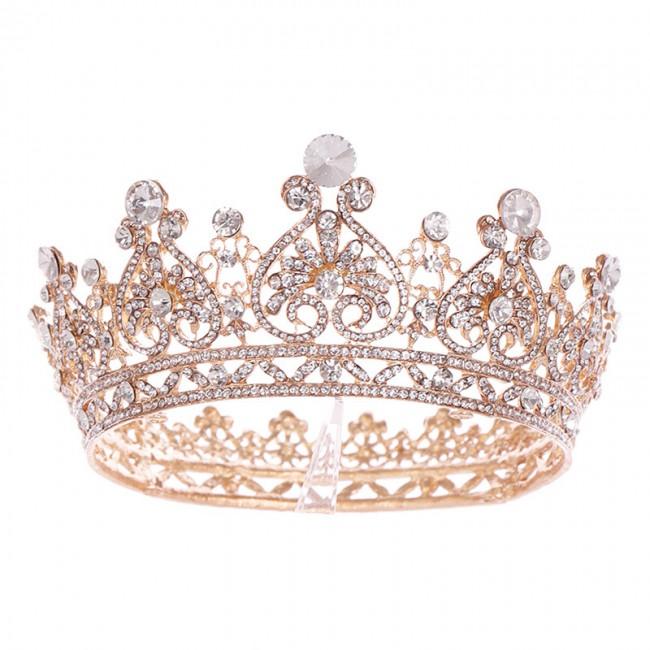 Baroque Round Crowns Bridal Wedding Hair Accessories Crystal Rhinestones Big Hair Jewelry Pageant Heart King Queen Tiaras