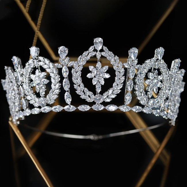 Luxury Zircon Crowns Tiaras Crystal Bridal Headpiece Princess Western Women Zircon Crowns For Pageant Party Wedding Jewelry