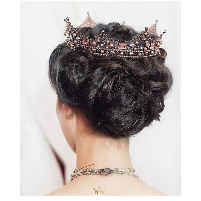 Baroque Style Pearl Crown Party Prom Vintage Tiara Full Crystal Big King Queen Tiara Crown Bridal Wedding Hair Accessories