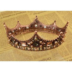 Baroque Style Pearl Crown Party Prom Vintage Tiara Full Crystal Big King Queen Tiara Crown Bridal Wedding Hair Accessories