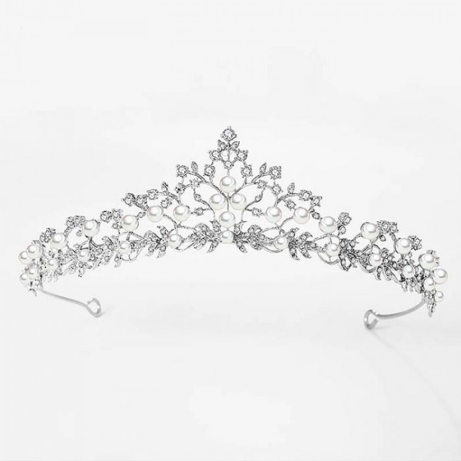 Leaf Flower Crystal Rhinestone Diadem Cubic Zircon Pearl Tiara Crown Wedding Bridal Hair Accessories