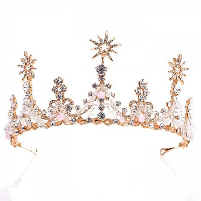 Noble Baroque Rhinestone Brides Tiaras Crown Crystal Pearl Princess Queen Diadem Wedding Bridal Hair Ornaments Jewelry