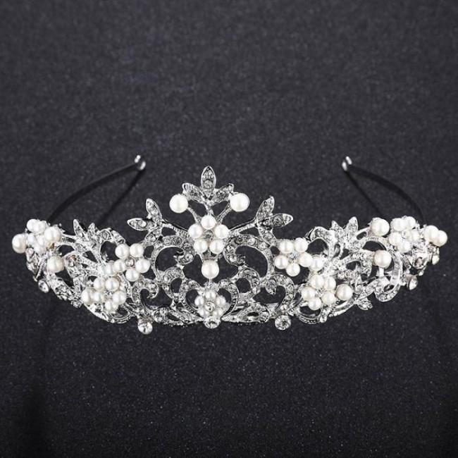 Luxury Shining Crystal Simulated Pearls Tiaras Crown Bride Wedding Party Headbands