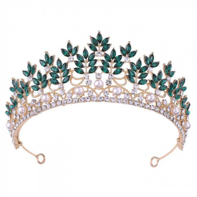 Delicate Baroque Style Crystal Simulated Pearls Tiaras Crowns Diadem for Bridal Bride Noiva Wedding Party