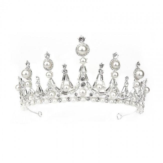 Rhinestone Pearl Decor Tiaras Crown Birthday Banquet Party Formal Dress Wedding Hair Accessories