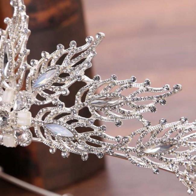 Rhinestone Crystal Leaf Tiaras Crown Bride Princess Diadem Headpiece Women Accessories Wedding Hair Jewelry